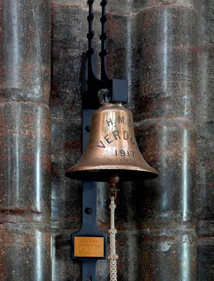The bell of HMS Verdun in Westminster Abbrey