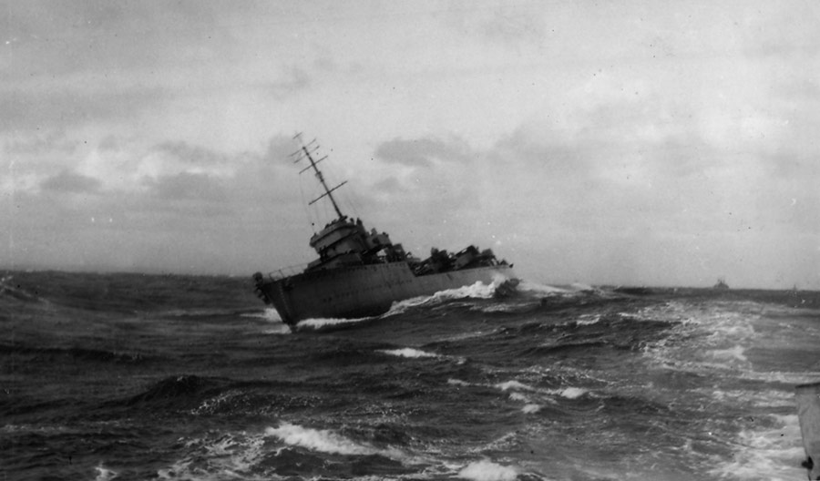 HMS Vimiera in storm on East Coast, 1941