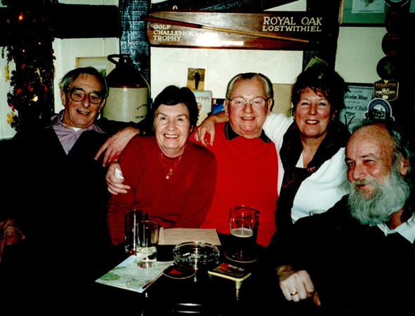 With friends in pub in Lostwithiel