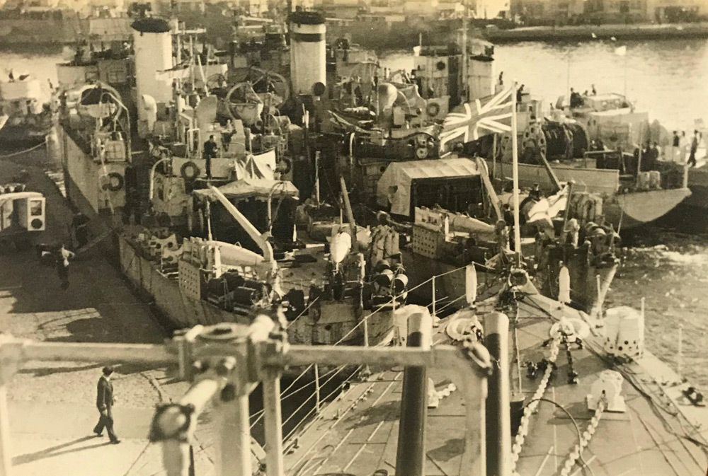 View from bridge of HMS Wolsey of Fleet mine sweepers, Stavanger, May 1945