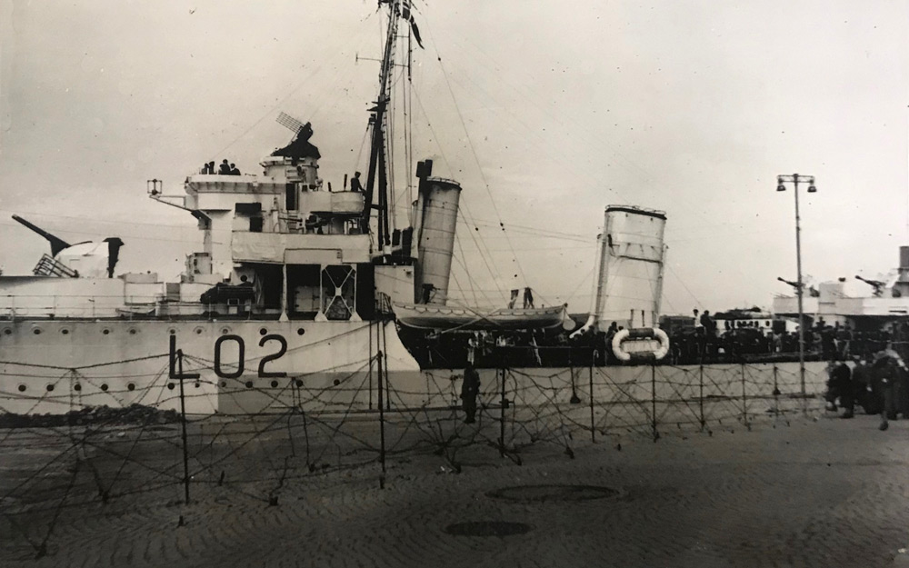 HMS Wolsey behind barbed wire at Stavanger, May 1945