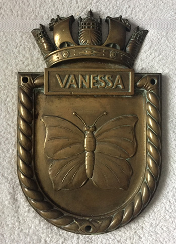 Screen plaque for HMS Vanessa