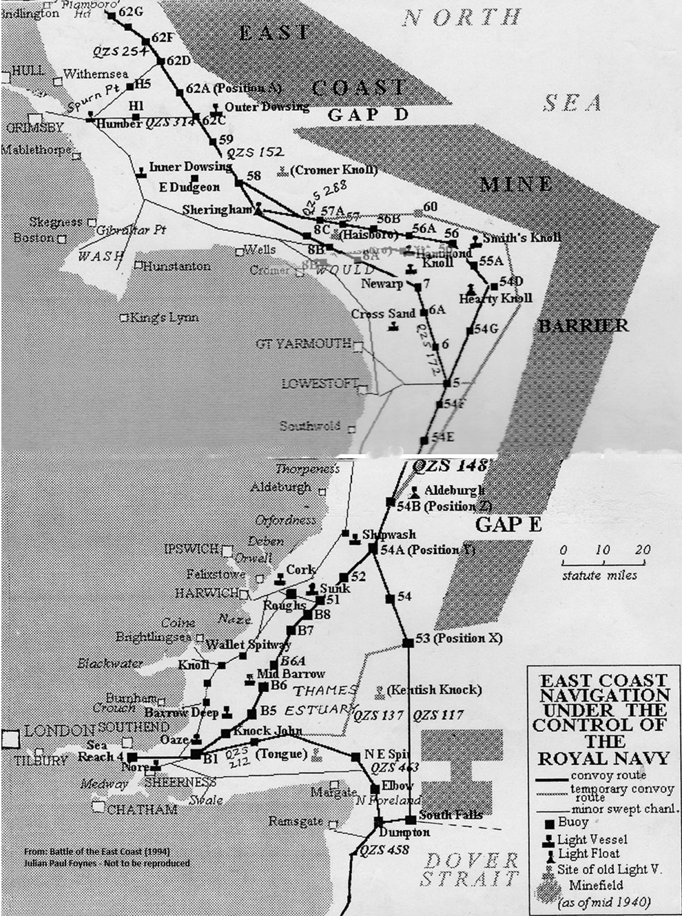Map of East Coast showing Convoy royts in 1940