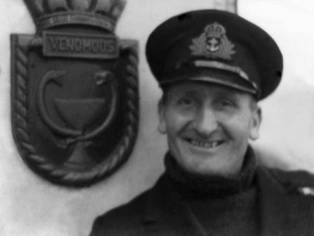 Screen badge in position on HMS Venomous